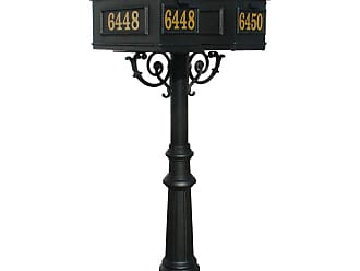 QualArc The Hanford Mailbox Post System Twin Post with Fluted Base 8 / Lewiston Mailboxes / Scroll Supports - HPWS2-800-LM