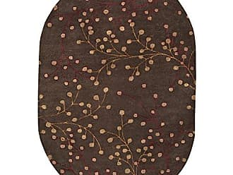 Surya Athena ATH-5052 Transitional Hand Tufted 100% Wool Dark Chocolate 6 x 9 Oval Floral Area Rug