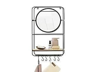 Wohnzimmer Schwarzes MDF-Holz und Metall Schwebendes dekoratives Wandregale mit 2 Holzb/öden LIFA LIVING Vintage Wandregal f/ür Wohnzimmer K/üche
