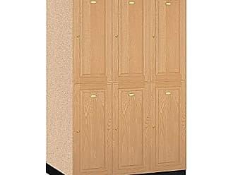 Salsbury Industries 2-Tier Solid Oak Executive Wood Locker with Three Wide Storage Units, 6-Feet High by 24-Inch Deep, Light Oak