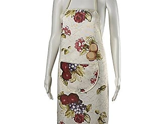Violet Linen European Paradise Fruits Vintage Print Apron with Pocket, Beige