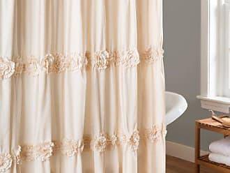 Lush Décor Darla Ruched Floral Bathroom Shower Curtain, x 72, Ivory