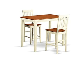 East West Furniture YAVN3-WHI-W 3 Piece Kitchen Dinette Table and 2 Bar Stool Set