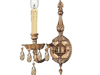 Crystorama 2501-OB-GT-MWP Ornate Cast Brass Wall Sconce Accented with Golden Teak Wood Polished Crystal
