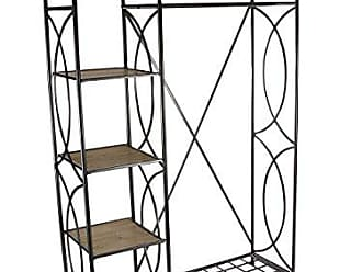 Deco 79 56986 Iron and Wood Clothes Rack with Shelves, 70 x 46, Brown/Black