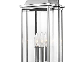 Feiss Wellsworth 20.75 3-Light Outdoor Post Lantern in Brushed Steel