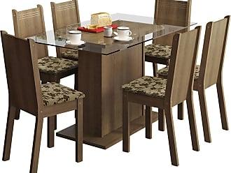 Madesa Sala De Jantar Madesa Base De Madeira Com Tampo De Vidro E 6 Cadeiras Gales - Rústico E Bege-Marrom