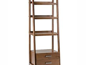 Simpli Home Simpli Home 3AXCSAW-06 Sawhorse Solid Wood 72 inch x 24 inch Modern Industrial Ladder Shelf with Storage in Medium Saddle Brown