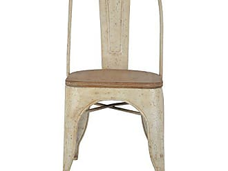 Decor Therapy Set of 2 Metal Chairs with Vintage Wood Seat, Distressed White and Washed Wood