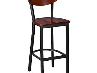 Regal Dixon 30 in. Metal with Wood Seat Bar Stool Mahogany - 2511W-30-ANODIZED NICKEL-MAHOGANY