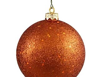 Queens of Christmas WL-ORN-BLKG-80-OR-W 80mm Glitter Orange Ball Ornament with Wire (Pack of 12)