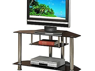 Benzara BM166687 Metal and Glass Tv Stand with Shelves, Black/Silver