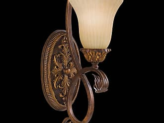 Feiss WB1280ATS Sonoma Valley Wall Bracket in aged Tortoise Shell finish with French Scarvo Glass Shade