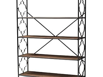 Baxton Studio Mirna Decorative Bookcase - Black/Natural Oak