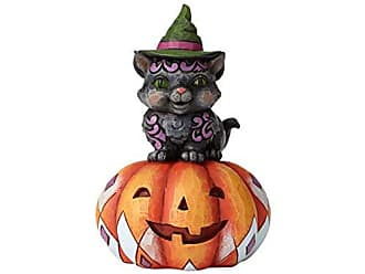Enesco Jim Shore Heartwood Creek Pint Sized Black Cat on Pumpkin