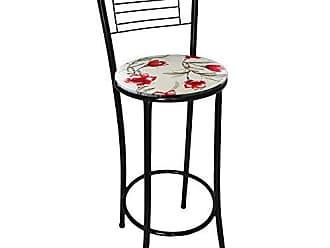 Itagold Banqueta Marilia Tubo Preto com Assento Floral Clássico Vermelho - Itagold