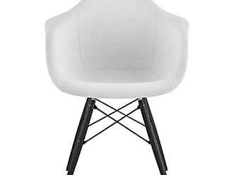 NyeKoncept 332007EW3 Mid Century Dowel Arm Chair, Glacier White