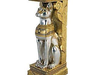 Design Toscano Egyptian Cat Goddess Bastet Pedestal Column Plant Stand, 37 Inch, Fiberglass Polyresin, Silver and Gold