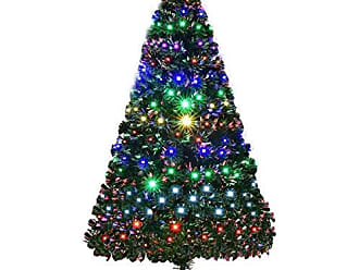 Costway 5FT Artificial Christmas Pre-Lit Optical Fiber Tree 8 Flash Modes W/UL Certified Multicolored LED Lights & Metal Stand, Green