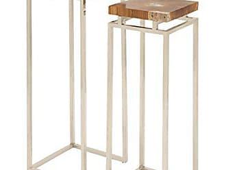 Deco 79 59223 Stainless Steel Teak Pedestal Stool (Set of 2), 42/38