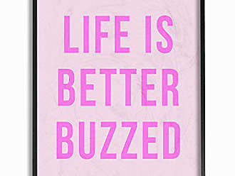 Stupell Industries Stupell Home Décor lulusimonSTUDIO Life Is Better Buzzed Pink Framed Giclee Texturized Art, 11 x 1.5 x 14, Proudly Made in USA