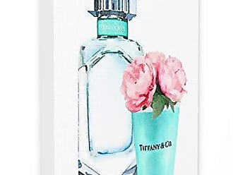 Stupell Industries The Stupell Home Décor Collection Teal Blue Perfume Bottle and Pink Peonies Stretched Canvas Wall Art, Multi-Color