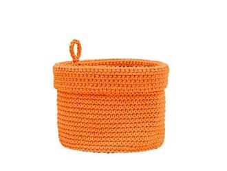 Heritage Lace Mode Crochet Round Basket with Loop, 8 by 8-Inch, Orange