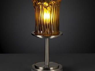 Justice Design GLA-8798 - Dakota 1 Light Table Lamp (Short) - Cylinder with Rippled Rim Shade - Brushed Nickel with Amber Glass - GLA-8798-16-AMBR