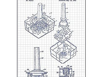 Inked and Screened SP_VIDG_24,813_WG_24_A Gaming Atari Joystick Controller Print, White Grid-Blue Ink, 18 x 24