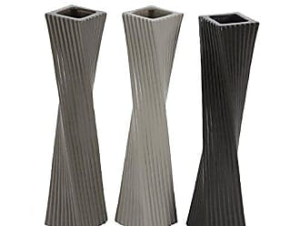 Deco 79 87717 Twisted Ceramic Vases (Set of 3), 4 x 20, Gray/White/Black