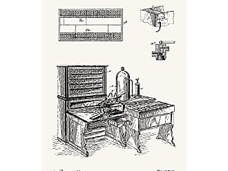 Inked and Screened SP_Vint_526,130_TW_17_K Machine for Tabulating-H. Hollerith-1894 Silk Screen Print, 11 x 17 True White - Black Ink