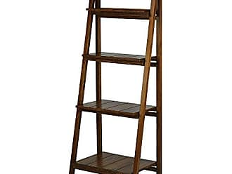 Yu Shan Casual Home Manhasset Slatted 4-Shelf Folding Bookcase-Warm Brown