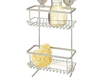 Sapone Satinato//Nickel InterDesign AFFIXX Classico Cestino Portaoggetti Doccia Autoadesivo per Shampoo Balsamo