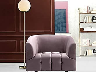Iconic Home FCC9251-AN Julia Accent Club Chair Velvet Upholstered Channel-Quilted Button Tufted Cushion Shelter Arm Design Espresso Finish Gold Tip Wood Leg Modern Contemporary Blush