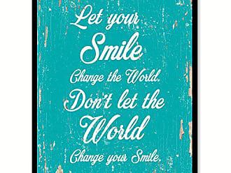 Spot Color Art SpotColorArt Let Your Smile Change The World Handcrafted Canvas Print, 7 x 9, Aqua