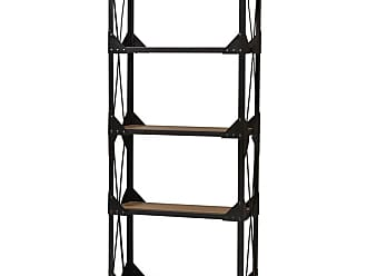 Baxton Studio Hudson Rustic Antique Black Textured Industrial Metal and Distressed Wood Tall Shelving Unit - CA-1121