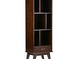 Simpli Home Simpli Home 3AXCDRP-12 Draper Solid Hardwood 64 inch x 22 inch Mid Century Modern Bookcase and Storage Unit in Medium Auburn Brown