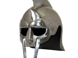 Urban Designs Imported Antique Replica Full-Size Metal Gladiator Armor Arena Helmet, Silver