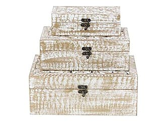 Deco 79 96093 Carved Wooden Filigree Boxes (Set of 3), White/Brass-Finish
