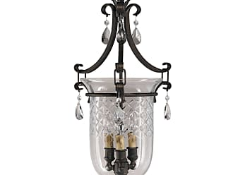 Feiss F2227/3ATS Salon Maison Chandelier - Hall Duo in Aged Tortoise Shell finish with Hand blown & cut bell glass