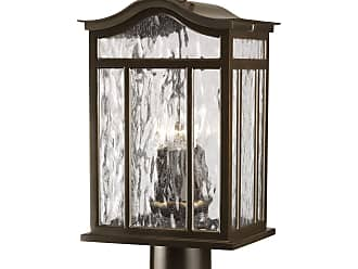 PROGRESS P5468-108 Three-light post lantern in Oil Rubbed Bronze finish with water seeded glass