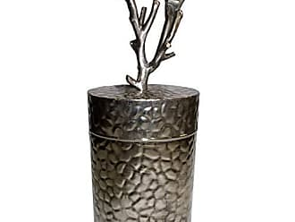Benzara BM180987 Patterned Metal Lidded Jar with Tree Branch Top, Silver