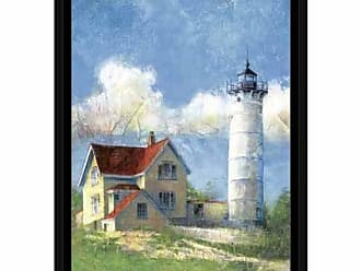 EAZL Lighthouse on Hill Sunny Day Colorful Coastal Distressed Painting Blue & Green, Framed Canvas Art by Pied Piper Creative