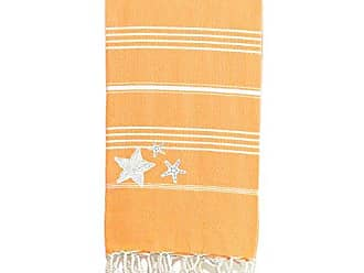 Linum Home Textiles Lucky - Starfish Pestemal Beach Towel, Melon Orange