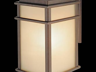 Feiss OL3402CB Mission Lodge Wall Mount Lantern in Corinthian Bronze finish with Amber ribbed glass