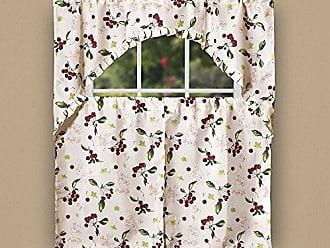 Violet Linen European Cherries Vintage Print 3 Piece Kitchen Curtain Set, Beige