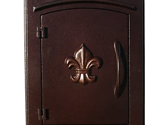 QualArc Fleur De Lis Column Mounted Mailbox Antique Copper - MAN-1402-AC