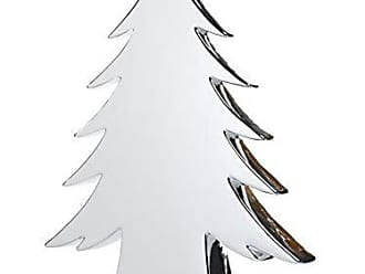 Zodax 16.5 Tall Teton Ceramic Christmas Tabletop Decoration, Silver Trees
