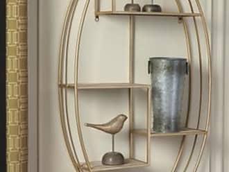 Ashley Furniture Elettra Wall Shelf, Natural/Gold Finish