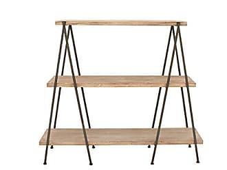 Deco 79 Benzara Antique Colonial Useful Wood Metal 3-Tier Shelf, Light Brown, Black